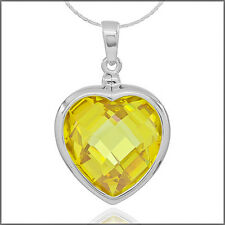 Sterling Silver Heart Pendant 17mm with Yellow CZ #65508