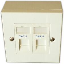 2 Way LAN RJ45 Network Faceplate, Backbox & Cat5 Module