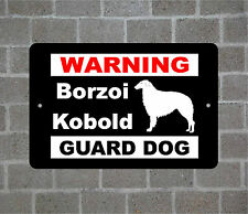 Borzoi Kobold warning GUARD DOG breed metal aluminum sign