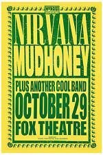 Grunge: Nirvana & Mudhoney at Fox Theatre Concert Poster 1991 12x18
