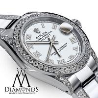 Women's Diamond Watch 26mm Rolex SS Datejust White Roman Dial Oyster Band