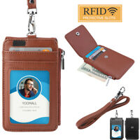 RFID Blocking ID Badge Card Holder PU Leather Vertical Neck Lanyard Bag 5 Slots