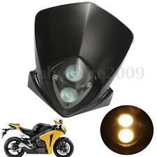 Universal Motorcycle Enduro Cross Dirt Bike Streetfighter Head Lights Headlight