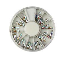 3D IRRIDESCENT AB TEARDROP NAIL ART RHINESTONE WHEEL #245 crystal craft gems