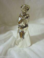 Brand New Silverplated Teddy Bear Figurine Shiny Metal Bell Girl Holding Basket