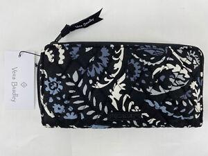 Vera Bradley Accordion Wallet Zip Around Clutch Paisley Noir Black $65 NWT