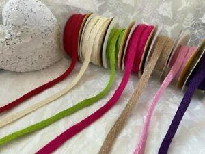 Eleganza HESSIAN JUTE  Natural Woven Ribbon 10mm -  7 Colours & various lengths