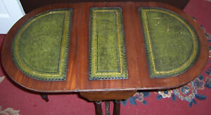 Vintage coffee table drop leaf sides embossed leather film prop restoration