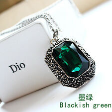 RF Green Rectangle GemStone Long Chain Pendant Necklace