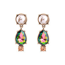 Boucles d`Oreilles Clous Doré Goutte AB Cristal Vert Perle Marron Rose CC10
