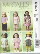 McCALL'S SEWING PATTERN CRAFT 18 INCH DOLL CLOTHES TOP SKIRT DRESS   M6526