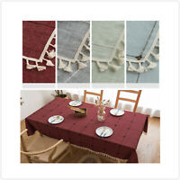 Rectangle Cotton Linen Tablecloth Washable Embroidery Table Cover Large Doilies