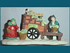 Fish Vendor w Cart, Lamp, Scales, Lady Shopper Christmas Village Figurine