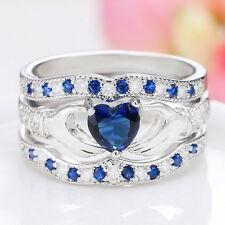 925 Sterling Silver Sapphire Irish Claddagh Ring Set Wedding Jewelry Size 5-12