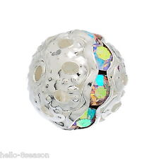 20PCs Silver Plated Rondelle Ball Beads With Clear AB Color Rhinestone