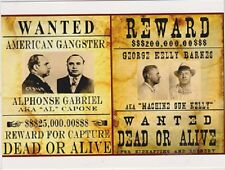 "+PC-Postcard-""-WANTED-""Gangsters-""Al Capone/G. Barnes (Machine Gun Kelly) (B333)"