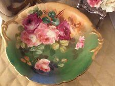 """Vintage JP LIMOGES FRANCE 10"""" Porcelain Bowl With Hand Painted Roses - Signed"""