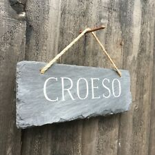 Welsh Language Croeso Welcome Slate Sign Wall Plaque 22cm x 8cm Rustic Cottage