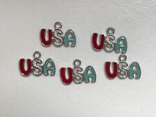 Enamel USA America charms - set of 5