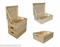 Plain Medium Pine Wooden Storage Box /Trunk / Chest / Crate/ With Lid/ Decoupage