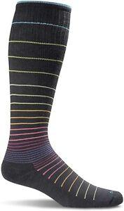 Sockwell Circulator 266336 Women's Crew Cut Black Stripe Socks Size M/L
