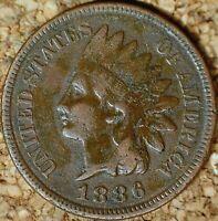1886 Indian Head Cent (Type-2) - FINE, READABLE LIBERTY, Darker (K985)
