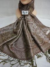 Reversible Metallic Silver Pashmina Bohemian Ethnic Hijab Scarf Shawl Brown