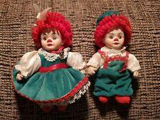 "Vintge 4 1/2"" Porcelain Clown Faced Raggedy Ann & Andy Doll Christmas Ornaments"