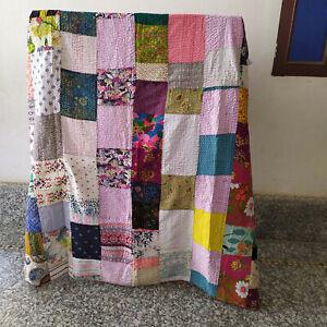 Patchwork Cotton Quilt Gudari Indian Bedding Bedspread Quilt Coverlet Blanket