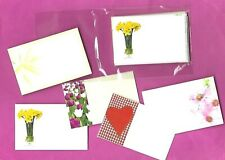 25 FLORIST CARDS - MIXED BLANK MESSAGE CARDS - Daffs,Tulips, Hearts, Lily, Pinks