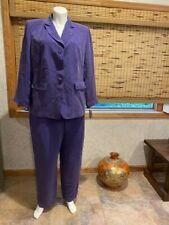 Travis Ayers Dressbarn Sz 20W Purple Pant Suit 100% Silk Blazer Dress Pants Set