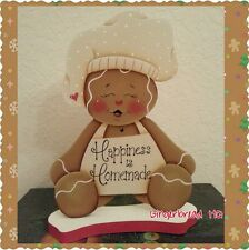 HP Made to order Gingerbread, white Apron, Chef, Shelf Sitter, Gingerbread Decor