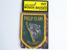 VINTAGE PHILLIP ISLAND VIC EMBROIDERED SOUVENIR PATCH WOVEN CLOTH SEW-ON BADGE