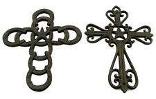 Lot of 2 Rustic Design Country Western Horse Shoe Cast Iron Christ Wall Crosses
