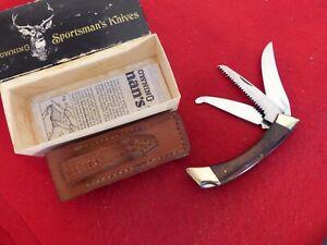 Browning Japan 3318F3 mint in box three blade lockback knife & sheath