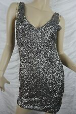 HUNT NO MORE HNM silver pewter sequinned sequin party bodycon dress size 10 EUC