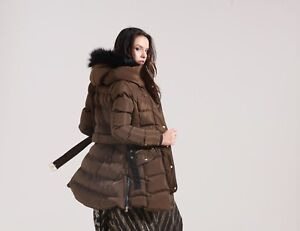 Charcoal Fashion Women's Mocha/Brown Hooded Quilted Puffa Coat(018W17 GLANCY)