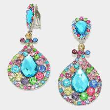 "NEW Bling Drag Queen ClipOn Earrings Genuine Austrian Crystals Aqua 3.5"" Long"