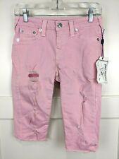True Religion Women's Go Pink Super Skinny Stretch Capri Crop Destroyed Jeans 27