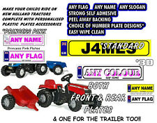 3 X PERSONALISED NUMBER PLATES EXACT FIT FOR CHILD/KIDS RIDE ON/SIT IN TRACTORS