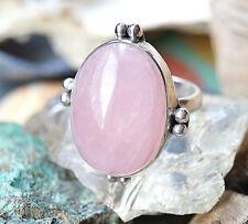 Riesig Silberring 60 Rosenquarz Handarbeit Silber Ring Antik Stil Verspielt Rosa