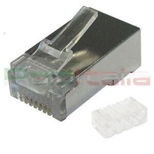 10/50/100x Connettore RJ45 Cat6 Schermato FTP plug per cavo di Rete ethernet Lan