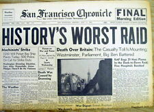 1941 hdln WW II newspaper Nazi Germany Blitz LONDON England HISTORY'S WORST RAID