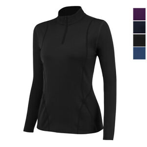 Womens Thermal Compression T-shirt 1/4 Zip Yoga Workout Sport Fleece Base Layer