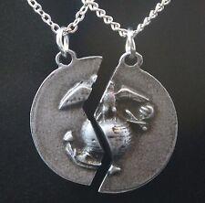 Pewter USMC Mizpah Prayer Necklace Set (Marine Corps Military Jewelry Gift)