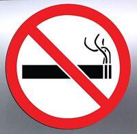 5x No Smoking Vinyl cut Sticker 100mm round warning regulation smoke outside red