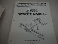 Land Pride Owners Parts Manual 45 Series Rear Blade