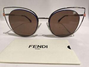 FENDI FF 0176/S 3YGUT Chrome Sunglasses Made in Italy Authentic COA