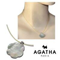 AGATHA Collier ras de cou en argent massif 925 fleur de nacre blanche 39cm bijou