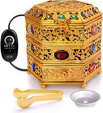 Oud Frankincense Resin Burner with Adjustable Timer & Storage Drawer (Gold)